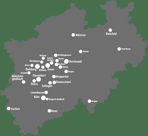 Unsere Einsatzgebiete in NRW Werbetechnik