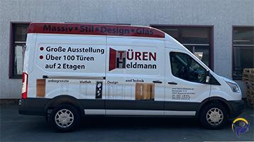 Signpeople Werbetechnik Fahrzeugbeschriftung Türen Heldmann